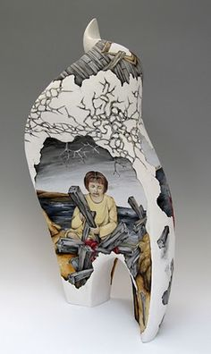 """I Can Fix It"" by artist Julia Feld ~ Stoneware, hand-painted with Amaco underglazes"