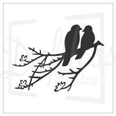 Birds On A Branch-2 Bird Stencil Love Bird Stencil