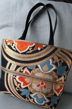 Hand made Japanese kimono obi tote bag.
