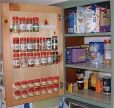 It's about Tiny-House Hacks; DIY Camper Van, Camping Trailers or RV Hacks Remodel and Makeover is a good choice to make it better camping trailers. Today our Camper Ideas is talk about it. Cabinet Door Spice Rack, Cabinet Doors, Cabinet Space, Pantry Doors, Rangement Caravaning, Handy Gadgets, Kombi Home, Camper Storage, Door Storage