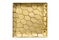 Powerstone Square Tray, Medium  This handcrafted brass tray is stamped with what appears to be an oversize crocodile pattern, for a look that's both organic and glamorous. Made in India.