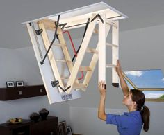 4 Efficient Cool Tips: Attic Storage Pulley attic wardrobe dressing.Attic Conversion Built In Bed how to finished attic. Attic Staircase, Loft Stairs, Attic Ladder, Loft Ladders, Folding Ladder, Wood Ladder, Basement Stairs, Attic House, Attic Closet