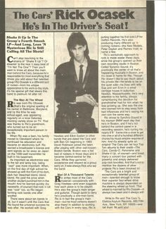 Ric Ocasek, The Cars, Full Page Vintage Clipping