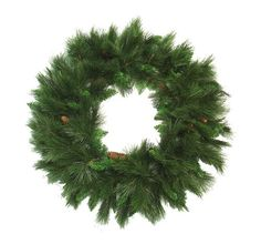 36 Green Long Needle Pine Artificial Christmas Wreath with Pine Cones - Unlit. 36 Long Needle Pine Artificial Christmas Wreath Item #RC-9132N-1Created with long molded needles and tips, this wreath is full of character and will add a lifelike look to your holiday decor.(10) 4 pine cones are placed throughout the wreath for an added holiday touch.140 lush branch tipsUnlitUL listed for indoor and outdoor useSetup is a snap with this one piece wreath. Just take your wreath out of the box, fluff
