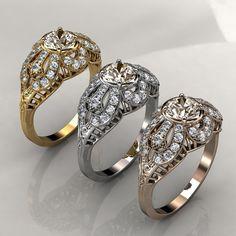 Antique style Morganite Diamond Engagement by KaratJewelryGroup