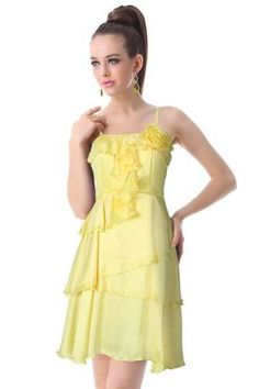 Fabulous Silken Daisy Party Dress  NZD$63.99   A cocktail dress in a fabulous daisy yellow with a lovely multi-layered skirt.       Features:    ~ Imitation silk with a luscious, smooth feel    ~ Padded bust with ruffle decoration and a floral applique    ~ Skirt with 4 asymmetric layers    ~ Adjustable spaghetti straps    ~ Opens with hidden side zip    ~ Lined          Size and Measurements    Size 14    Bust 95cm - 102cm    Waist 78cm - 85cm    Hips free to 150cm    Length(excluding…