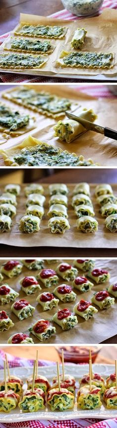 Mini Spinach Lasagna Roll Ups