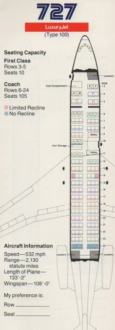 Vintage Airline Seat Map: AA's Boeing 727-100 from 1985 (via boardingarea.com/blogs/frequentlyflying)