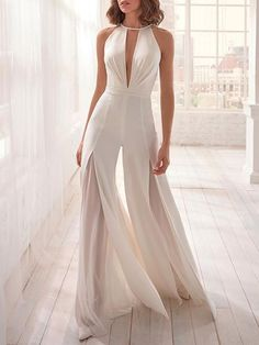 Women's Fashion See-through Split Jumpsuit - Fashion Designers Evening Dresses, Prom Dresses, Wedding Dresses, Mini Dresses, Ball Dresses, Bridesmaid Dresses, Elegante Jumpsuits, Look Fashion, Womens Fashion