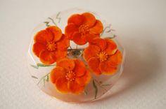 Lucite Reverse Carved Orange Flower Brooch 1940s Vintage