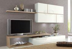Conjunto de pared TV diseño lacado blanco y roble claro BAHAL - Zoom