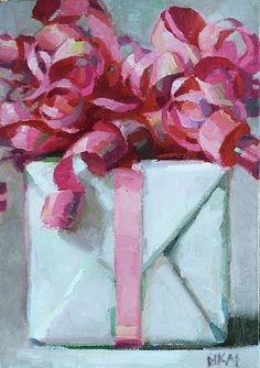 Monday, August 8  ~ gifts galore  What a clever idea to paint beautifully wrapped gifts. I featured Karen Appleton in one of my earliest posts