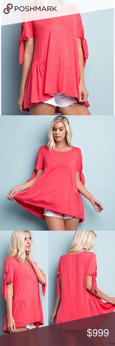 """🇺🇸 Short Tie Sleeve Hi-Low Hem Tunic Tee Blouse Beautiful bright color!   Bust: Small 20"""", Med 21"""", Large 22"""" Made in the USA 🇺🇸  95% RAYON, 5% SPANDEX  RAYON JERSEY TOP FEATURES GATHERED YOKE AT SIDES WITH RIBBON TIE SLEEVES  Browse my closet and bundle items for a discount!  (Internal inventory code YAC) 143 Story Tops Blouses"""