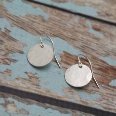 Sterling Silver Earrings Hammered Disc Drop Earrings | Etsy