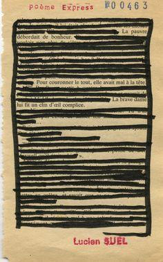 Poème express n°463 - Lucien Suel  Caviardage, matière première biffée