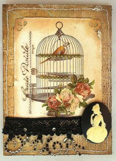 Bird cage card... vintage look