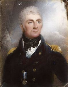THOMAS HARGREAVES (1775-1846) - HALF LENGTH PORTRAIT MINIATURE OF SIR WILLIAM HOTHAM - dressed in Naval uniform in a rectangular ebonised and cast brass mounted frame, watercolour on ivory 10cm x 7.5cm -   Note; A native of Liverpool Hargreaves was assistant and pupil of Sir Thomas Lawrence from 1793 after Lawrence had seen one of his portrait miniatures. He exhibited at the Liverpool Academy, The Society of British Artists and at the Royal Academy.