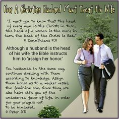 """""""I want you to know that the head of every man is the Christ; in turn, the head of a woman is the man; in turn, the head of the Christ is God."""" (1 Corinthians 11:3) You husbands, in the same way, continue dwelling with them according to knowledge. Assign them honor as to a weaker vessel, the feminine one, since they are also heirs with you of the undeserved favor of life, in order for your prayers not to be hindered. (1 Peter 3:7)"""