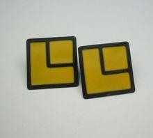 Yellow & Black Enamel Square Modernist Earrings