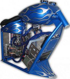 Computer case mods - Blue motorcycle case mod