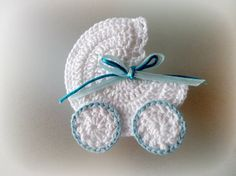 Crochet Baby Carriage/ Buggy/Stroller/Pram Applique Novelty /