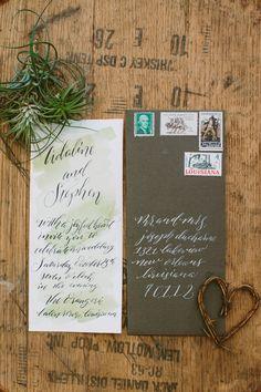 watercolor wedding invitations, photo by Ashleigh Jayne Photography http://ruffledblog.com/green-autumn-wedding-inspiration #weddinginvitations #stationery #rustic