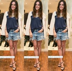 Look of the All time works Landed in Barcelona early this morning, and after a whole day of meetings and fittings I'm finally. Gala Gonzalez, Daytime Dresses, Star Fashion, Overall Shorts, Going Out, All About Time, Denim Shorts, Zara, Street Style