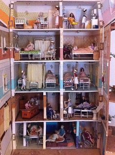 ANTIQUE - DOLLS HOUSE - MATERNITY HOSPITAL - SCRATCH BUILT - UNIQUE RARITY 1960s | eBay