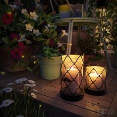 """Picture from """"Summer nights"""" - project by interiordelight. A sequel to """"Creative retreat"""" project. It brought back memories of my childhood summer nights in the countryside. I wish I had seen fireflies. Fireflies, Summer Nights, Design Projects, Countryside, Greenery, Candle Holders, Childhood, Table Lamp, Candles"""