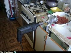 Multi purpose meat grinder! Watch your fingers folks!