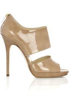 Heel measures approximately 5 inches with a inch platform Sand leather Open toe Zip fastening at back High Heels, Shoes Heels, Pumps, Leather Sandals, Patent Leather, White Wedding Shoes, Jimmy Choo Shoes, Discount Designer Clothes, Luxury Shoes