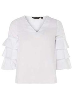 A white ruffle blouse is a classic wardrobe piece!
