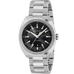 12cd4c8b67f Gucci GG2570 Large Men s Sapphire Black Dial Silver Bracelet Watch YA142301  Gucci Watches For Men