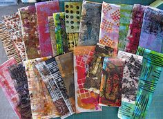 """""""On today's agenda ~ fire up my Gelli plate."""" constance rose : mixed media and textiles: Paper Collage"""
