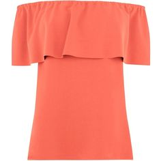 Warehouse Crepe Off The Shoulder Top, Coral ($33) ❤ liked on Polyvore featuring tops, flutter-sleeve top, frilly tops, red top, red off the shoulder top and strapless tops