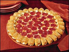 Pizza Hut's Cheesy Bite Pizza. Each slice has 370 calories, 16 g. of fat, 40 mg of cholesterol, 1000 mg of sodium, and 40 carbs.