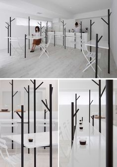 10 Unique Coffee Shops In Asia / id inc designed Cafe Ki, a minimalist coffee shop in Tokyo with an abstract tree theme that provides convenient spots to hang hats and coats while you hunker down with a cup of coffee.
