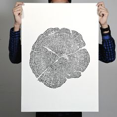 Tree of Life - When viewed up close, the organic tree rings in the print reveal themselves to be composed of hundreds of tiny animals marching in circles. Check out the post to see the detail!