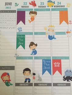 Little mermaid themed planner stickers disney inspired planner stickers for planners like Erin condren, filofax, plumplanner, websters pages,
