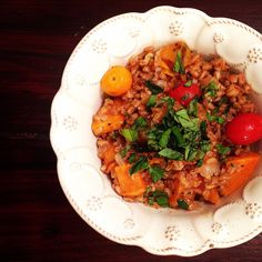 I surveyed my kitchen the other night and found farro and some sweet potatoes. I also knew I had a cheap bottle of Pinot Grigio in the fridge so inspired by this recipe, I made this vegan farro risotto with cherry tomatoes and roasted sweet potatoes (those are some of my very favorite words). The…