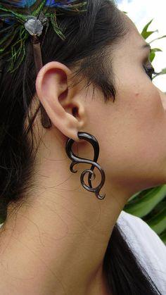 Fake gauge Split Gauge Earrings Organic Black Horn by ANELAJADE, $21.99