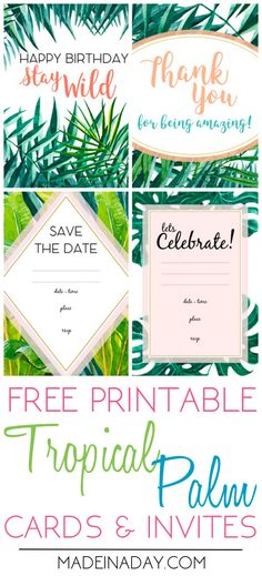 Tropical Palm Party Invites Birthday and Thank You Card Printables | Made in a Day