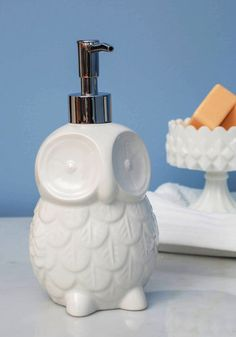 Sink About It Soap Dispenser: Owl clean you say?/Wash the day's dirt from my hands/Foamy soap on hands  #ModCloth #ModClothHaiku