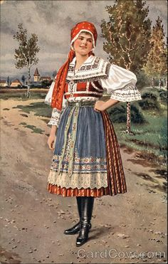 Ceskoslovenské Národni Kroje Czeck Republic Folk Costume, Costumes, Czech Republic, Ethnic, Hipster, Bohemian, European Countries, Postcards, Vintage