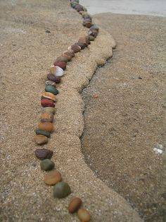 Beautiful beach pebbles in a row