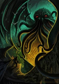 Cthulhu, by Gylfi Þór Medieval Artwork, Call Of Cthulhu, Lovecraftian Horror, Cosmic Horror, Creature Art, Cthulhu, Dark Art, Eldritch Horror, Tentacle Art
