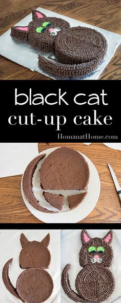Two round cakes and few cuts give you an adorable cat cut-up cake. Easy enough f… Two round cakes and few cuts give you an adorable cat cut-up cake. Easy enough for kids, and perfect for making a black cat for Halloween! Elegante Desserts, Dessert Party, Dessert Food, Gateaux Cake, Cat Birthday, Birthday Cake, Birthday Ideas, Birthday Decorations, Baking With Kids