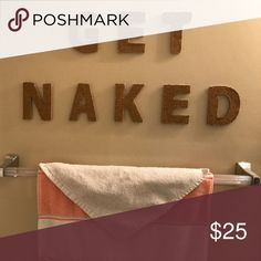 "Hand painted ""Get Naked"" Wall Decal Super cute in the bathroom! Other"