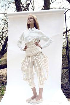 Architectural Fashion - 3D cage trousers; innovative fashion design; sculptural fashion // Ewelina Orlinska