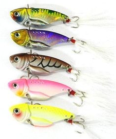 Lure Metal Fresh/Shallow Feathers Walleye Crappie Hooks Tackle Vib018